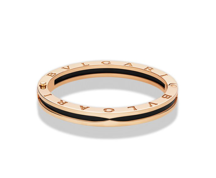 Bulgari - Bracciale bungle in oro rosa 18 carati e ceramica nera