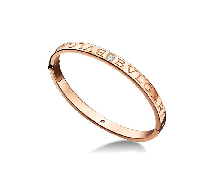 Bulgari - Bracelet bungle in pink gold 18 K and diamonds