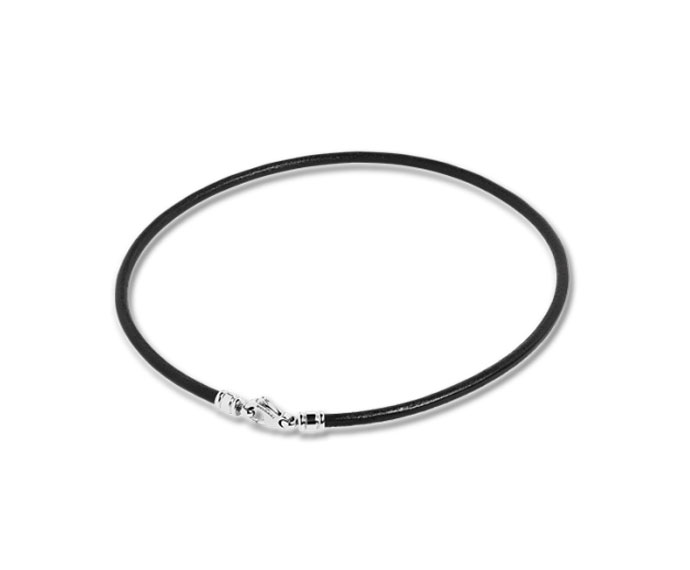 Bulgari - Black leather cord with steel clasp