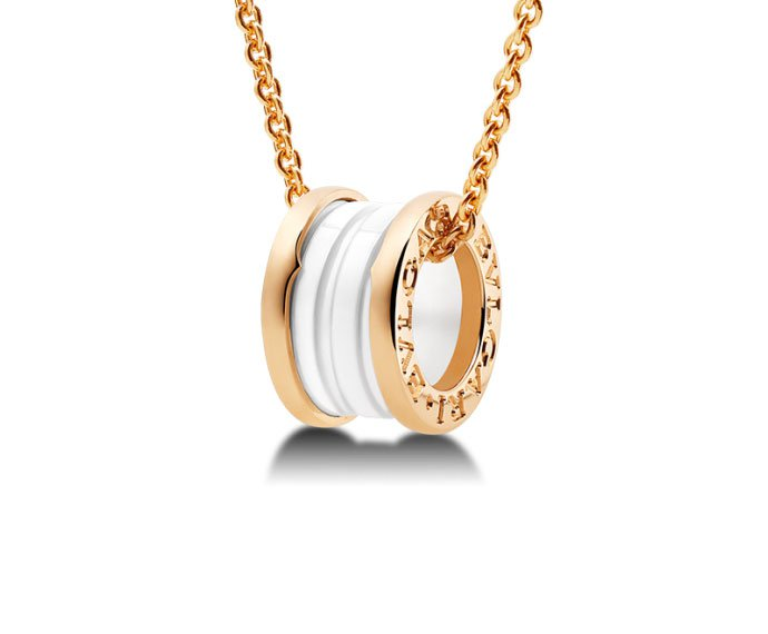 Bulgari - Necklace with pendant in pink gold 18 K and white ceramic