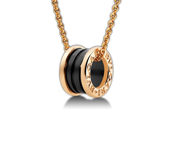 Bulgari - Necklace with pendant in pink gold 18 K and black ceramic