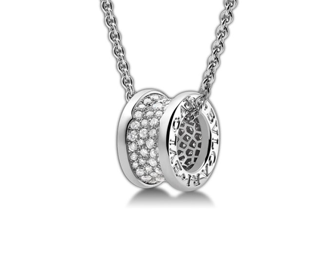 Bulgari - Pendant with pavé of diamonds and chain in white gold 18 K