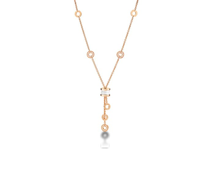 Bulgari - Necklace in pink gold 18 K with white ceramic and pavé of diamonds