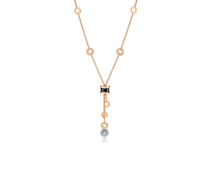 Bulgari - Necklace in pink gold 18 K with black ceramic and pavé of diamonds