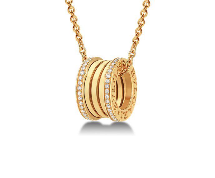 Bulgari - Pendant with chain in yellow gold 18 K with pavé of diamonds