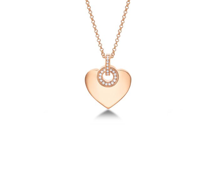 Bulgari - Pendant with chain in pink gold 18 K with pavé of diamonds