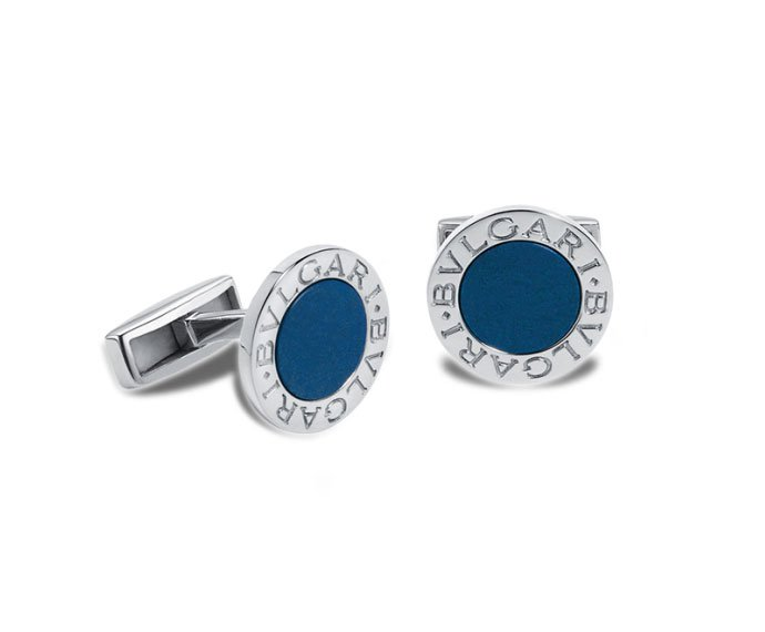 BULGARI - Cufflinks in silver 925 with lapis lazulis