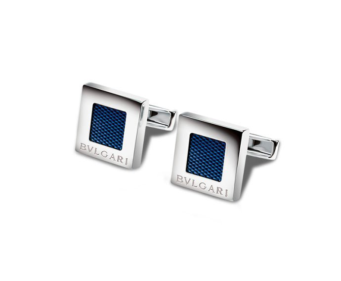 Bulgari - Cufflinks in silver 925 with enamel and guilloché decorations
