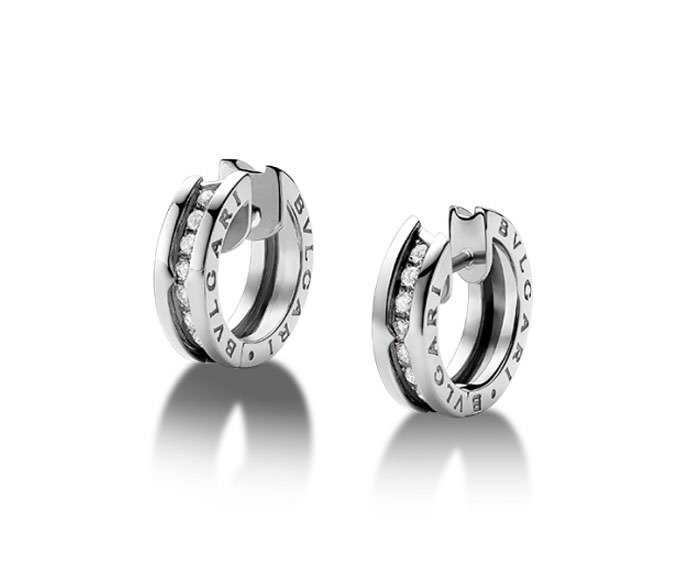 Bulgari - Hoop earrings in white gold 18 K with pavé of diamonds