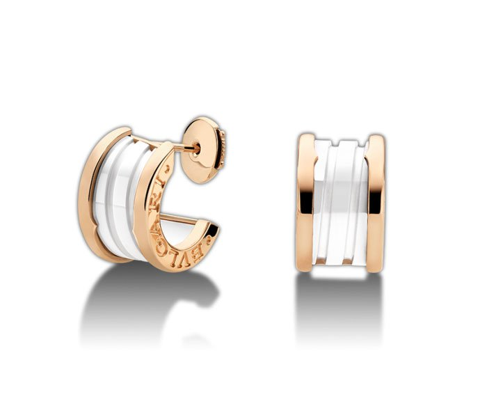 Bulgari - Earrings in pink gold 18 K and white ceramic