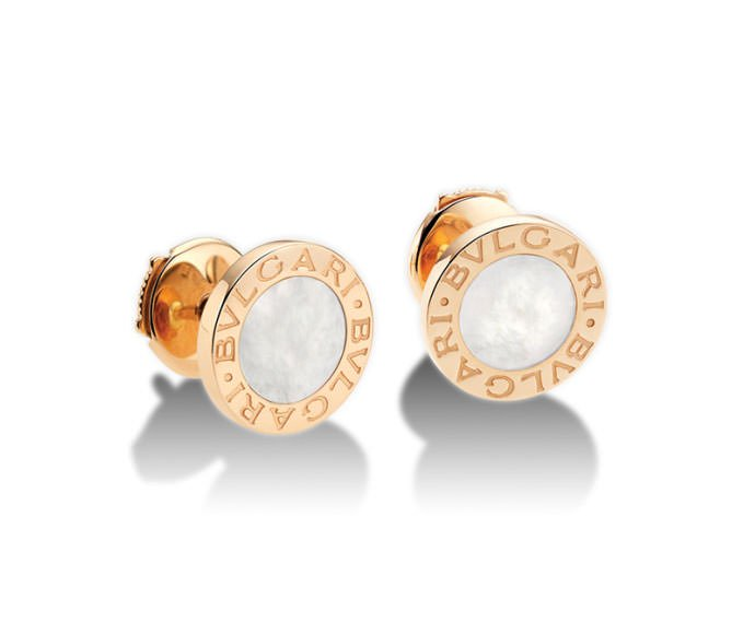 Bulgari Stud Earrings In Pink Gold 18 K And Mother Of Pearl