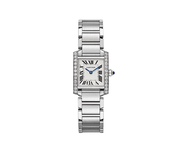 CARTIER - Tank Française Small Model, Steel and Diamonds