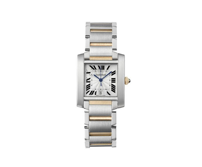 CARTIER - Tank Française Big Model, Steel, Yellow gold