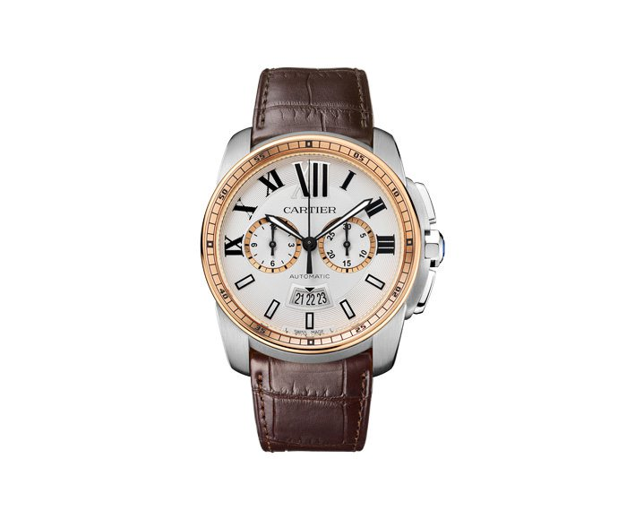 Cartier - Calibre de Cartier Chronograph, Big Model, Pink gold, Steel