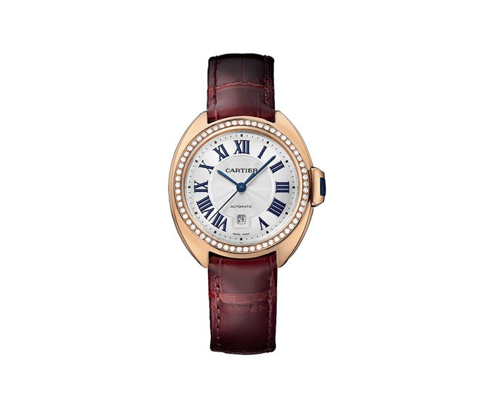 CARTIER - Clé de Cartier 31 mm Automatic, Pink gold, Leather, Diamonds
