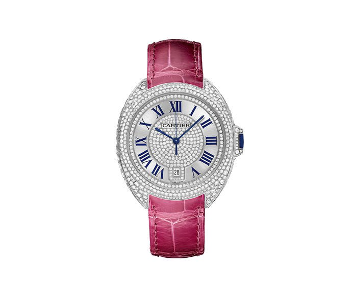 Cartier - Clé de Cartier 40 mm Automatic, White gold, Leather, Diamonds
