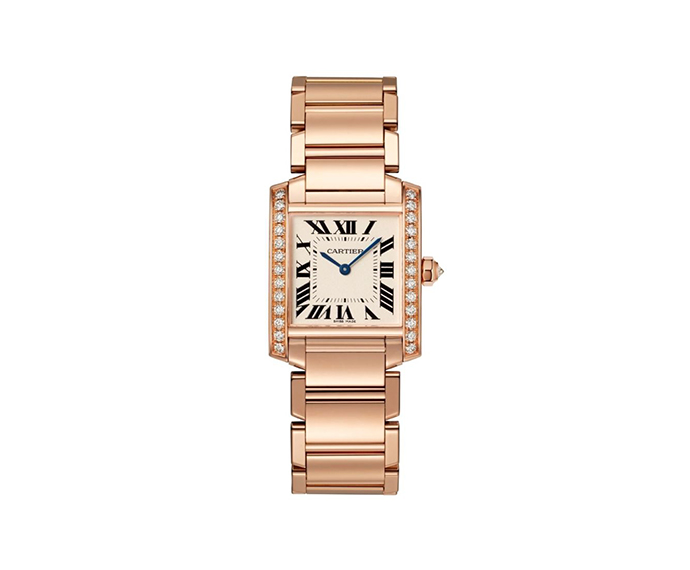 Cartier - Tank Française, Medium model, Pink gold and diamonds
