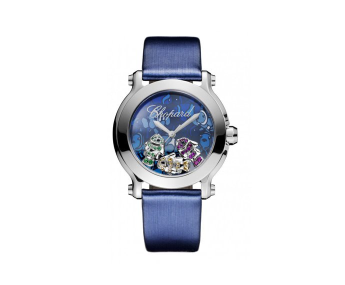 CHOPARD - Happy 36 mm, Stainless steel, Colorful gems