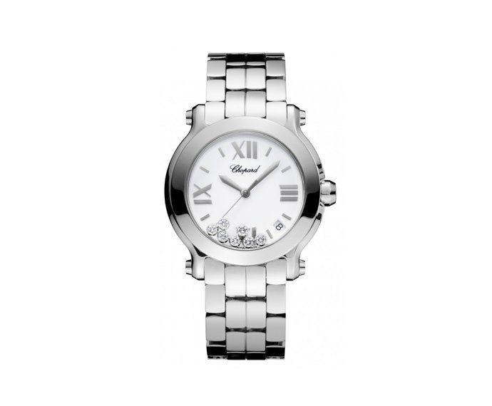 CHOPARD - Happy 36 mm, Acciaio inossidabile e diamanti