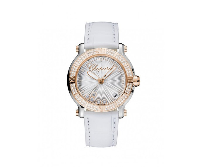 CHOPARD - Happy 36 mm, Pink gold 18 K, Stainless steel
