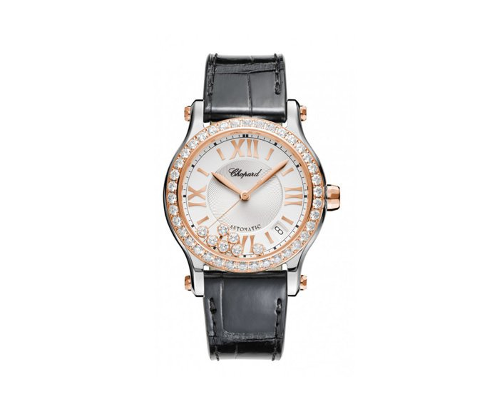 CHOPARD - Happy Sport 36 mm Automatic, Pink gold 18 K, Stainless steel, Diamonds