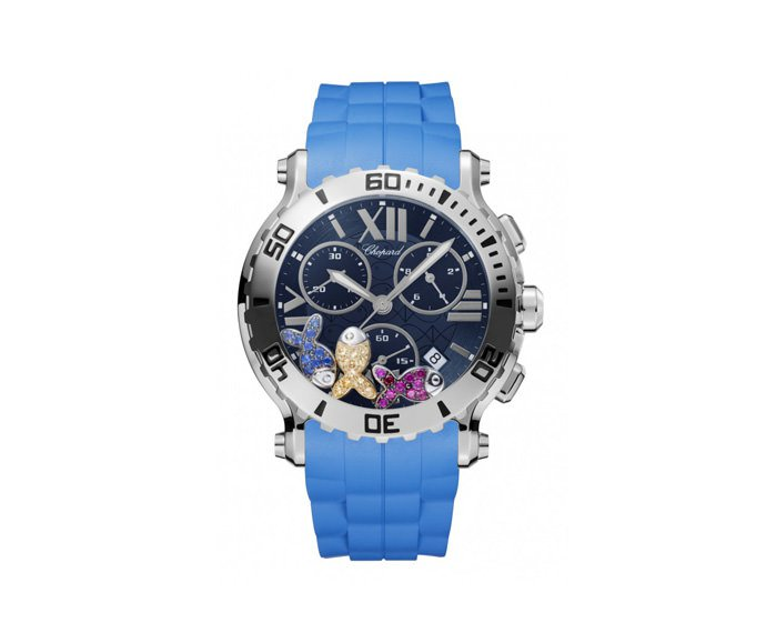 Chopard - Happy Sport 42 mm Chrono, Stainless steel, Colorful gems