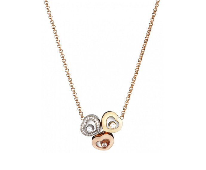 CHOPARD - Necklace pink gold 18 K, yellow gold 18 K, white gold 18 K and diamonds