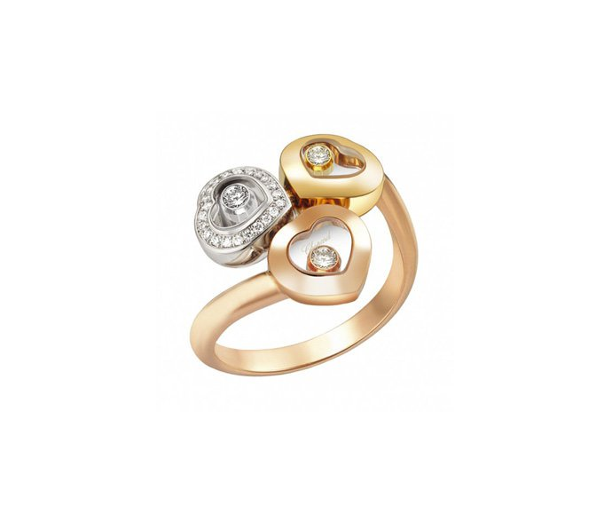 CHOPARD - 18 carat pink gold, 18 carat yellow gold, 18 carat white gold and diamonds ring
