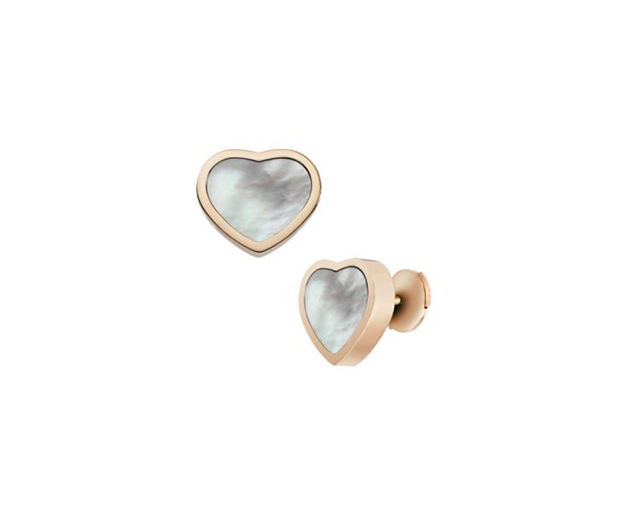 CHOPARD - Pink gold and mother-of-pearl heart earrings