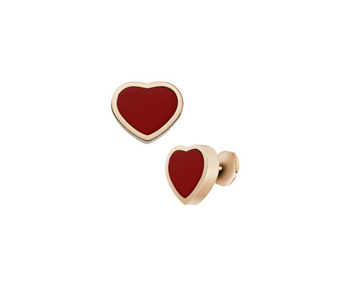 CHOPARD - Pink gold and red stone heart earrings