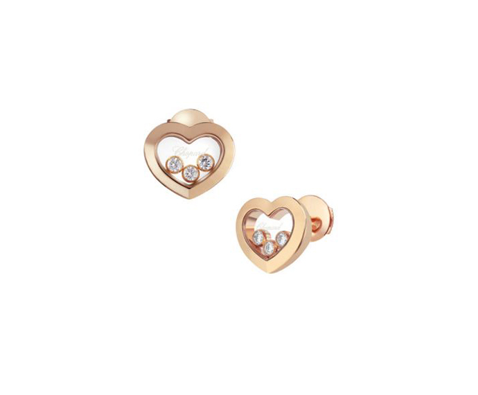 CHOPARD - Pink gold and diamond earrings