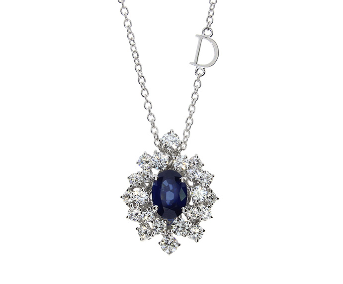 White gold, Diamonds and sapphires necklace.