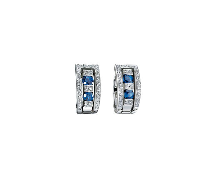 Damiani - White gold and diamonds with sapphires earrings