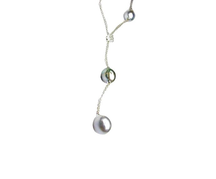 DAMIANI - White gold, diamonds and Tahiti pearls necklace