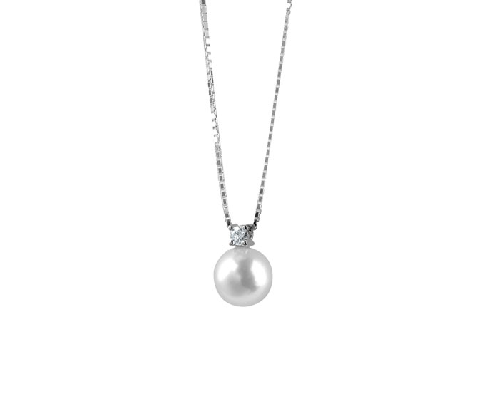 Damiani - White gold necklace with pearl and diamond