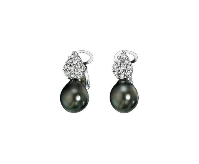 Damiani - White gold, diamonds and Tahiti pearls earrings