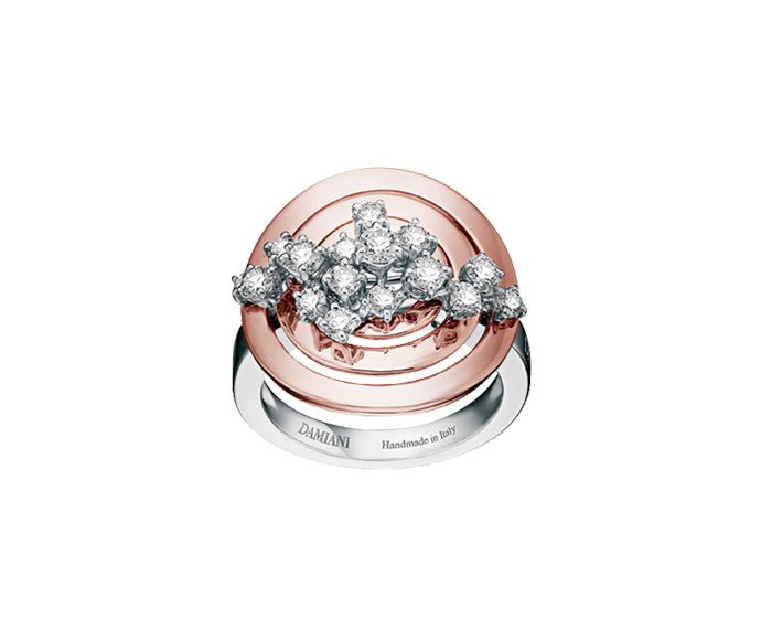 Damiani - White gold and pink gold with diamonds ring