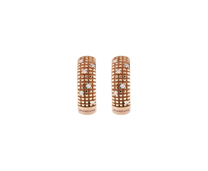 Damiani - Pink gold with diamonds earrings