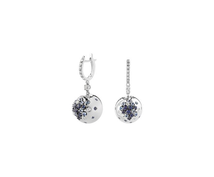 DAMIANI - White gold, diamonds and sapphires earrings