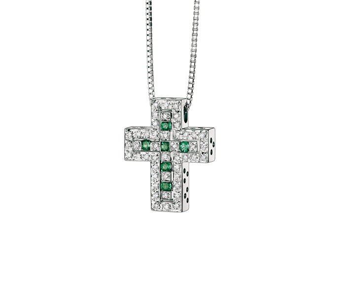 Damiani - White gold with diamonds and emeralds cross necklace