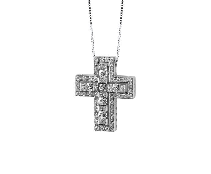 Damiani - White gold with diamonds cross necklace