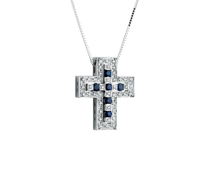 Damiani - White gold with diamonds and sapphires cross necklace