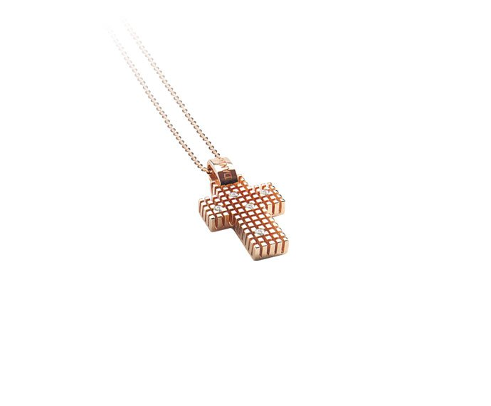 - Pink gold and diamonds cross necklace