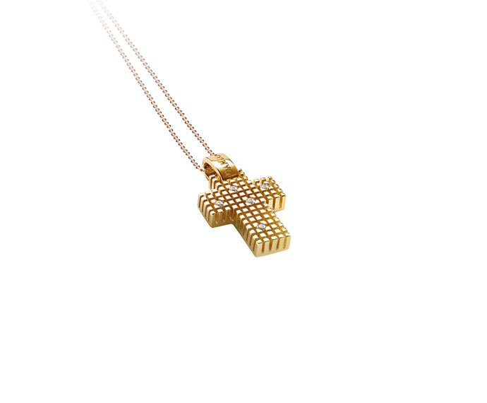 Damiani - Yellow gold and diamonds cross necklace
