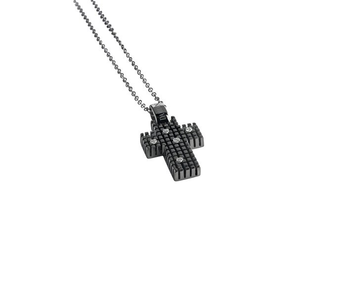 - Black gold and diamonds cross necklace