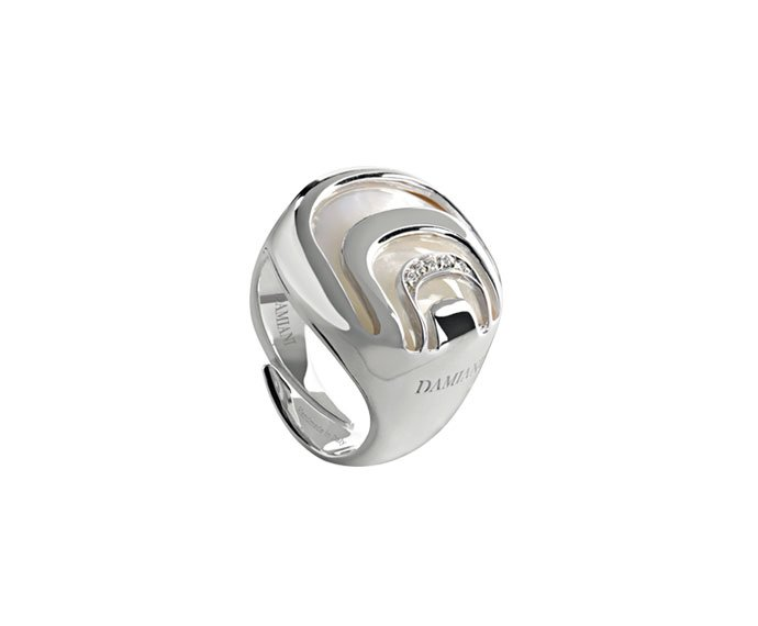- Silver with diamonds and mother-of-pearl ring