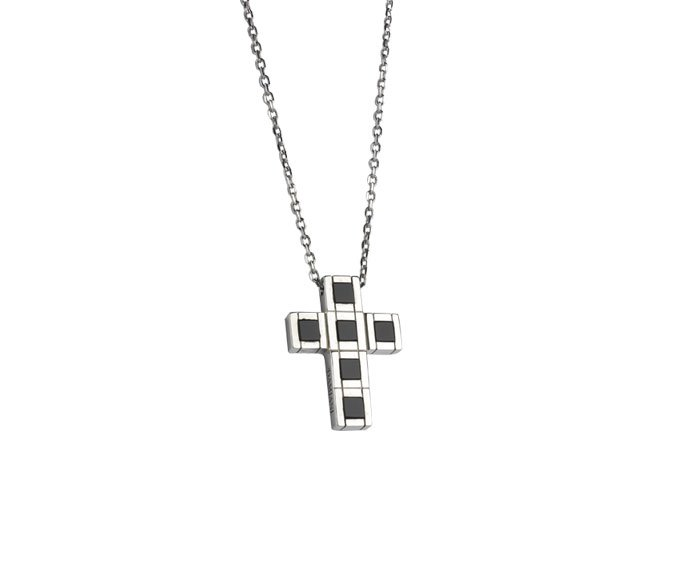 DAMIANI - Silver cross necklace with onyx