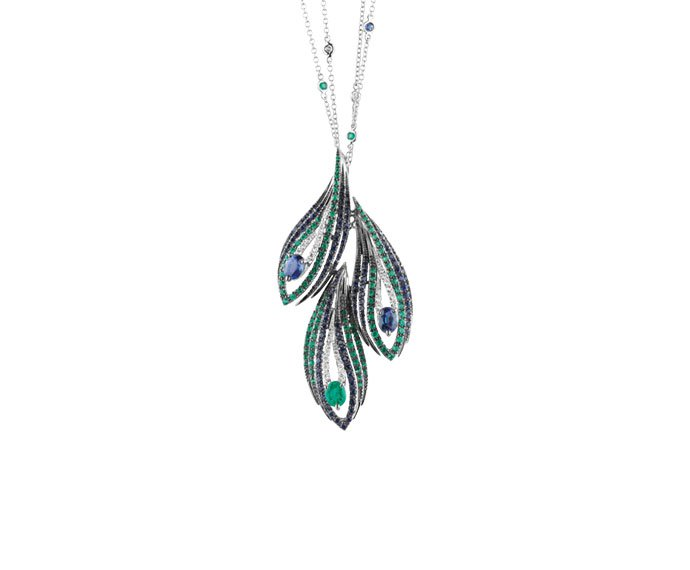 Damiani - White gold, diamonds, emeralds and sapphires necklace