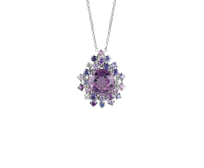 Damiani - White gold with diamonds, amethysts and violet sapphires necklace/brooch