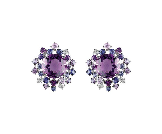 Damiani - White gold with diamonds, amethysts and violet sapphires earrings
